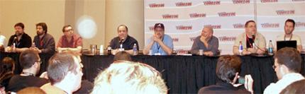 (l to r) Tom Brevoort, Greg Pak, Fred Van Lente, Dan Slott, Brian Reed, Marc Guggenheim, Mark Guggenheim, C.B. Sebulski, Jim McCann